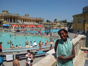 The warm thermal pool outside.