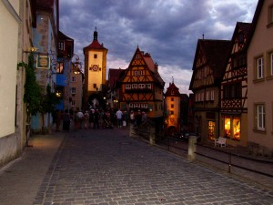Rothenburg at night as we were leaving.