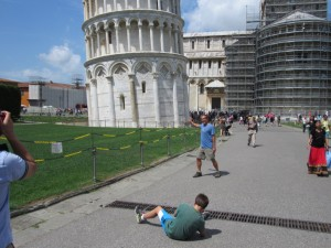 """Setting up a """"pushing the tower over"""" shot."""