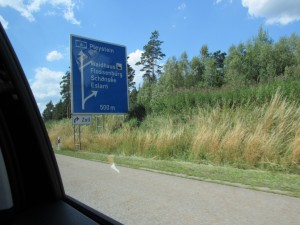 German highway signs with funny words.