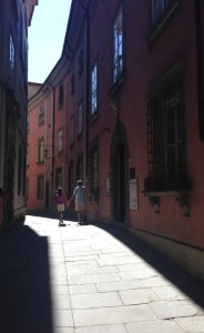 Heading back to our car in quiet Barga.